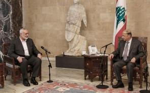 إسماعيل هنية يلتقي الرئيس اللبناني العماد ميشال عون